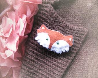 Felt Brooch Cute Red Fox Pin Handmade Softie Orange Accessory - Hand made in France