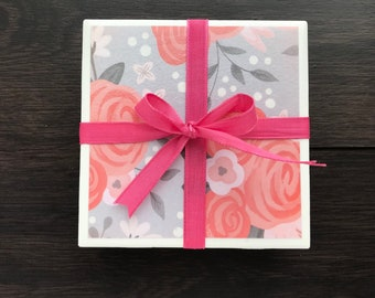 Tile Coasters, Gray with Pinnk Roses