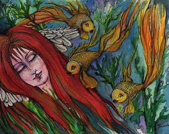 An Angel and the Goldfish original ink and watercolors painting