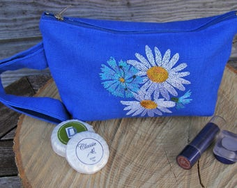 Blue Linen with Embroidery Make Up Bag, Zipper Pouch, Cosmetic Bag, Handmade, Linen, Women, Organize