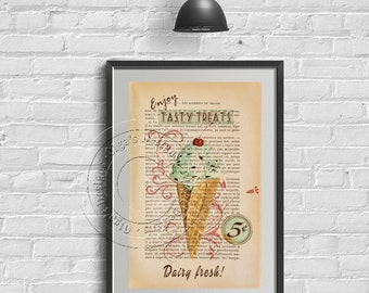 Wall Art - Home Decor - Shabby Chic decoration - Vintage style Ice-Cream No 3 - French style - Home & Living