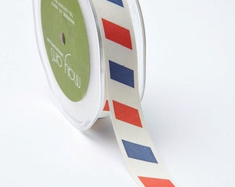 """Patriotic Ribbon - Red White Blue Stripe 3/4"""" Canvas Ribbon  - Priced by the Yard"""