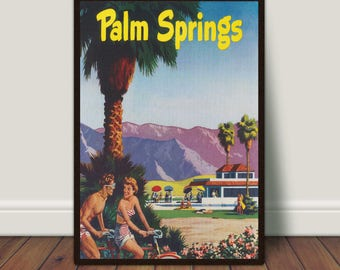 Palm Springs California Print, Vintage Travel Poster, Palm Trees, Romance, Retro Print, PRINTABLE Art, Large Wall Art, Large Print, Download