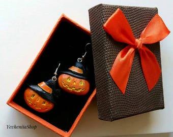 Halloween jewelry Orange Pumpkin Wooden earrings Wooden Halloween jewelry Halloween pumpkin earrings. Earrings Pumpkin.