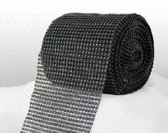 Diamante Effect  Cake Mesh Ribbon – Black x 1m