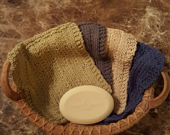 Knitted cotton washcloth gift set