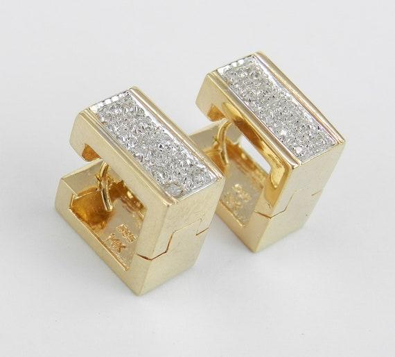 14K Yellow Gold Square Diamond Hoop Earrings Diamond Hoops Huggies Gift