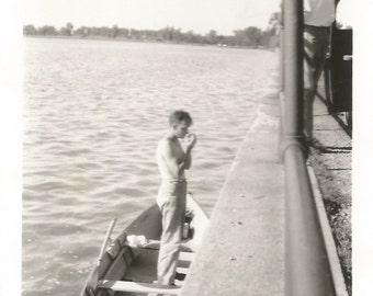 """Vintage Snapshot """"Smoke Break"""" Shirtless Man Cigarette Smoking Rowboat Found Vernacular Photo"""