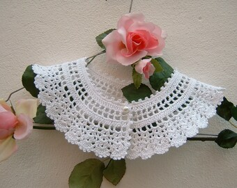 Women's crocheted collar-vintage Look-white cotton collar-retro chic Victorian collar-crochet romantic women's fashion