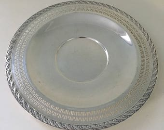 Vintage wm rogers and son spring flower pattern round silver vintage wm rogers and son silver plate sandwich plate with pierced edge spring flower pattern wedding decor serving piece home decor dining mightylinksfo