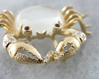 Sweet Moonstone and Diamond Crustacean Crab Brooch 6PNJ5F