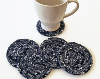 Navy Blue Paisley Coasters Set of 5 - Neutral Coiled Fabric Coasters - Clothesline Coaster Set - Quiltsy Handmade