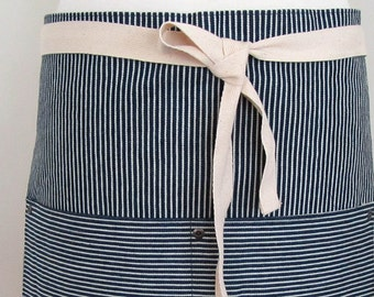 Half  Apron Man Woman Denim Apron Hickory Stripes Apron Engineer Denim Work Apron Blue Stripes
