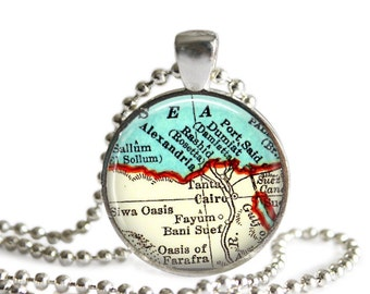 Gifts for Aunts, Cairo, Egypt map necklace pendant, Egyptian Jewelry, Egypt Map charms, personalized map jewelry, Travel necklace, A100