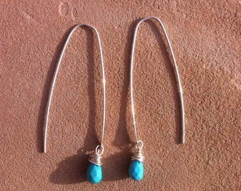 Long Silver with Turquoise Dangle Earrings