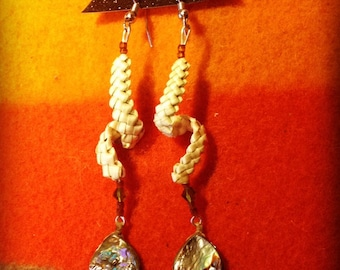 beargrass and abalone earrings
