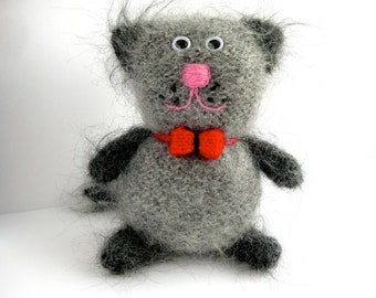 Stuffed Cat, Mohair Cat,  Knitted cat,  Stuffed animal, Stuffed Toy