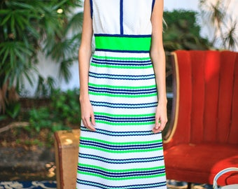 Color Blocked 1960s Maxi Dress