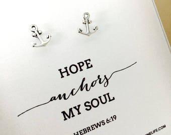 Hope Anchors Earrings faith jewelry Christian earrings anchor coastal sea ocean studs dainty earrings