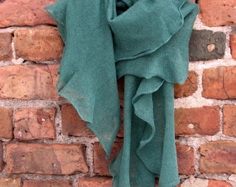 Green Linen Scarf Shawl Wrap Stole, Light