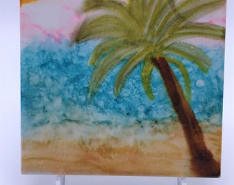 "Hand Painted Tile made with Alcohol Ink ""Palm Tree"""