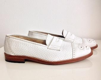 In pelle vintage Scarpa mocassino Oxford bianco, cestino tessuto modo. Taglia 40.