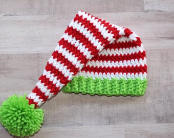 Striped Elf long tail stocking hat Christmas Holiday