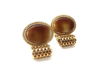 Pair of Avon Signed Gold Tone Metal Mesh Wraparound Oval Shaped Brown & Cream Glass Cabochon Cufflinks