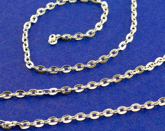 16 Ft. Silver Plate Flat Cable Chain 4x3mm links, 5M Silver Chain 3mm x 4mm open links-SP-B02753-8S