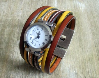Watch cuff leather Camel/yellow, Silver Dial, 30MM magnetic silver plated clasp.