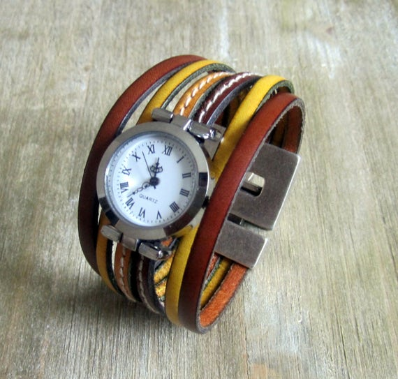 60fac51aa0 watch cuff leather camel yellow silver dial clasp plate 30mm loving money.  ETSY