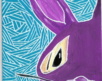 A5 canvas board rabbit painting