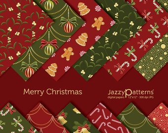 Christmas papers pack, Gingerbread digital paper, Candy Cane papers, Mistletoe digital papers, 12x12 and 8.5x11 in  DP004