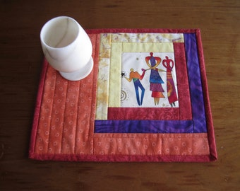 """Quilted Mug Rug """"Dancing among the Stars"""" Small Placemats, Snack Mat, Fabric Trivet with Mexican Dancers, Fun Table Mats, Quiltsy Handmade"""