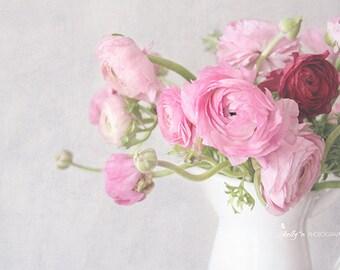 Ranunculus Photography- Pink Flowers Photo, Pink Floral Bouquet Print, Pink Ranunculus, Feminine Decor, Floral Wall Art, Still Life Art
