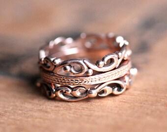 Rose gold stacking rings, rose gold anniversary ring, 14k rose gold rings, wide gold ring, rose gold rings for women, gift for wife, custom