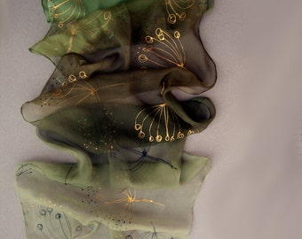 Olive Dandelions ombre silk chiffon scarf with golden dandelions. Hand painted olive green scarf. Small silk scarf.
