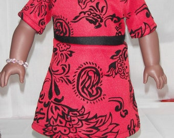 "Short sleeve Dress red & black flocking invisible zipper 18"" Doll Clothes"