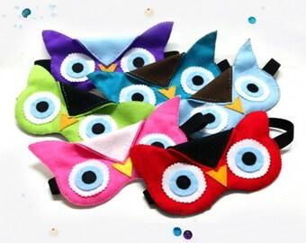 eye mask with hand sewn felt Owl design.