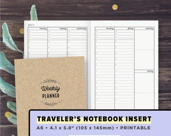 A6 Travelers Notebook Insert | Vertical Weekly Planner UNDATED, Hourly Schedule Layout | TN Inserts A6 | Productivity, DIY Instant Download