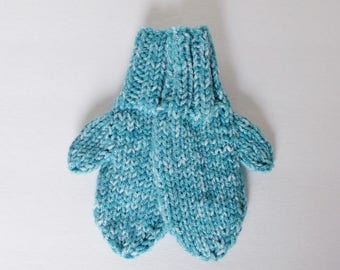 Hand Knit Toddler Mittens in Ocean Blue for Preschool Kids Size 1 to 2 Years Baby Boy or Baby Girl Accessory Warm Winter Clothing Child Gift