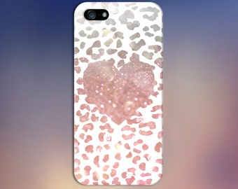 Pink Bokeh Cheetah Print x Heart Design Case for iPhone 8 6 Plus iPhone X  Samsung Galaxy s9 edge s6 and Note 8  S8 Plus Phone Case