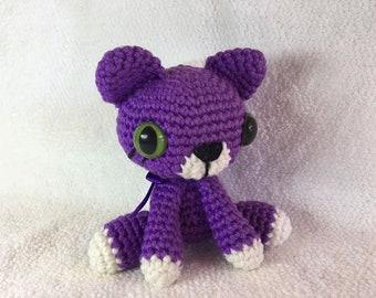 Little Crochet Amigurumi Kitten, Purple