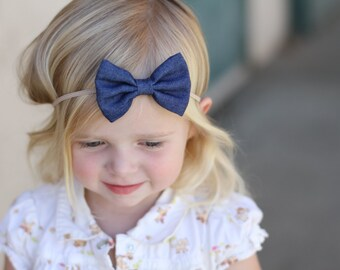 Denim Bow Headband, Baby Girl Headband, Denim Headband, Baby Bow Headband, Newborn Headband, Baby Gift, Infant Headband