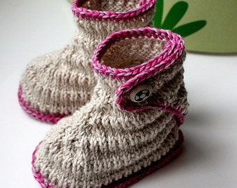Kniting Pattern (PDF file) Stream Baby Booties (sizes 0-6/6-12 months)