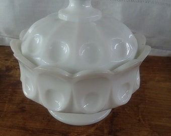 Vintage White Milk Glass Covered Candy Dish