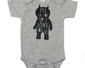 I'll Eat You Up Bodysuit - Where The Wild Things Are Bodysuit - Boy Baby Shower Gift - Black and White - Baby Boy Gift - Carol Bodysuit