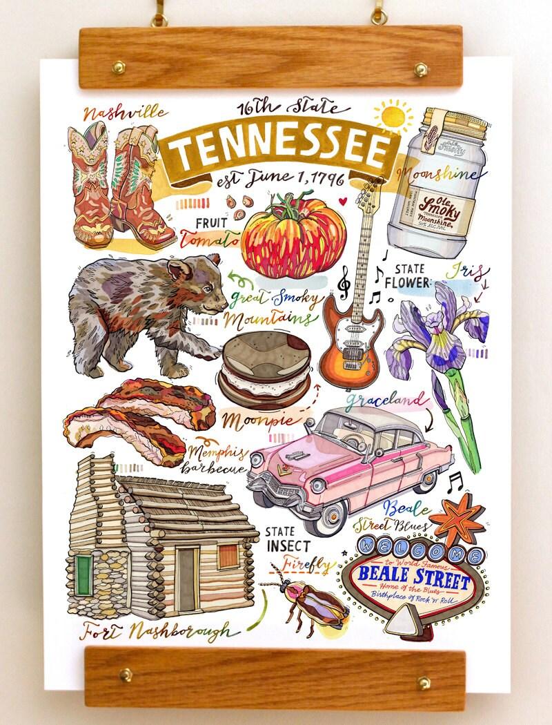 Tennessee print illustration state symbols nashville smoky zoom buycottarizona Images