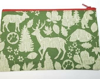 Woodland Nature Fabric Zipper Pouch
