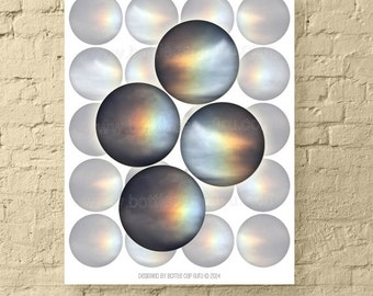 """Eternal Flame / 2"""" Circle Digital Collage Sheet / Printable Abstract Iridescent Images for Crafts // INSTANT DOWNLOAD"""